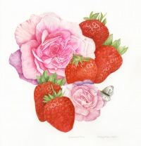 Trisha-Hayman-Strawberries-and-Rose